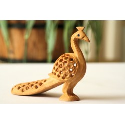 Wooden Peacock Figurine