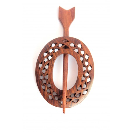 Wooden Carved Shawl Pin - Oval Shaped - AW1056