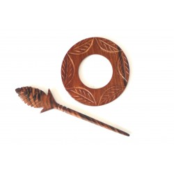 Wooden Carved Shawl Pin - Round Shaped - AW1058