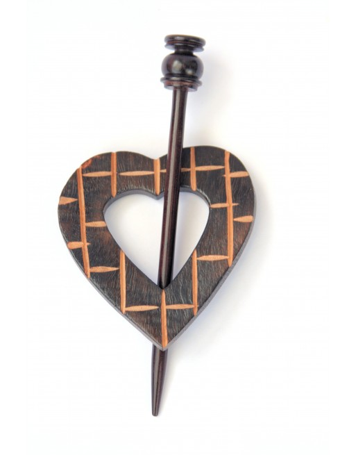 Wooden Shawl Pin - Heart Shaped