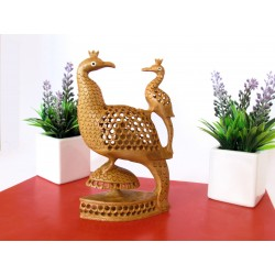 Wooden Peacock With Baby
