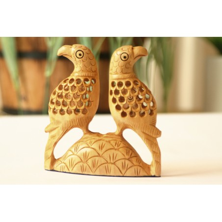 Wooden Parrot Love birds